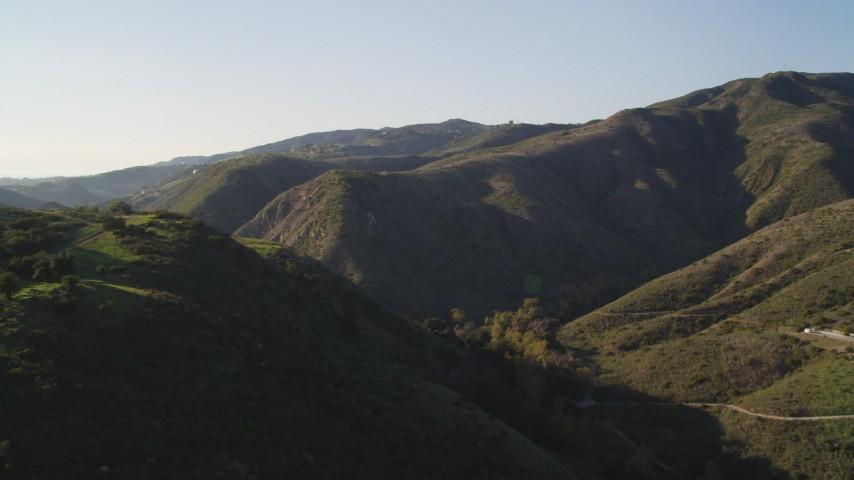 Approach Green Santa Monica Mountains in California Aerial Stock Footage | DCLA_165