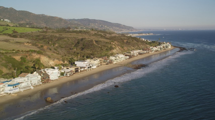 Flyby a Row of Homes on the Beach in Malibu Aerial Stock Footage DCLA_169