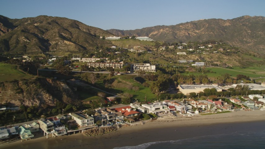 Beachfront Homes and Hilltop Homes in Malibu, California Aerial Stock Footage | DCLA_171