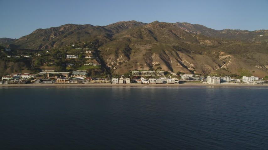 Pan Across Homes on the Coast of Malibu, California Aerial Stock Footage | DCLA_174