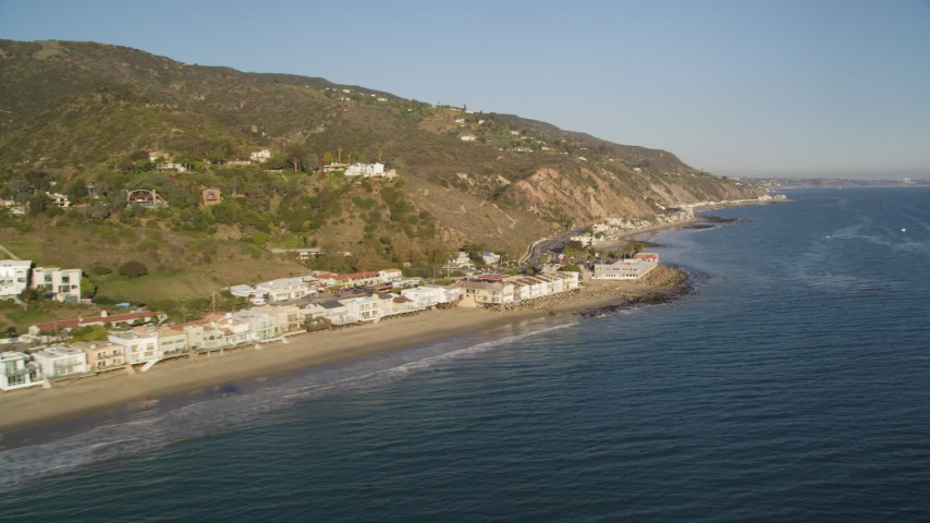Beachfront Homes on the Coast of Malibu Aerial Stock Footage | DCLA_176