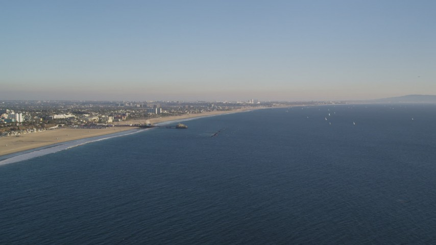 Slow Approach to Santa Monica Pier and the Beach in California Aerial Stock Footage | DCLA_179