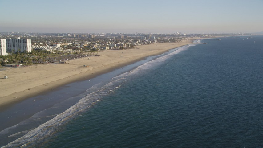 Approach and Fly Over the Beach by Venice, California Aerial Stock Footage | DCLA_182
