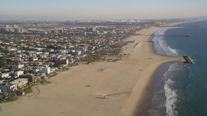 Fly Over and Tilt to the Venice Beach Park in Venice, California Aerial Stock Footage DCLA_184