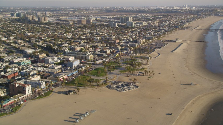 5K aerial stock footage video fly over and tilt to the Venice Beach Park in Venice, California Aerial Stock Footage DCLA_184