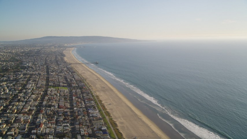 5K stock footage aerial video of beach and coastal community of Manhattan Beach, California Aerial Stock Footage | DCLA_198