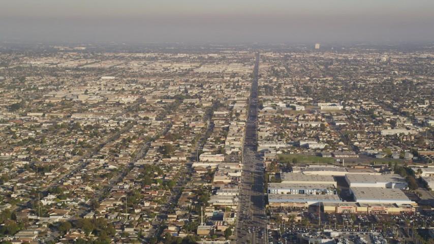 Fly Over Rosecrans Avenue through Manhattan Beach, California Aerial Stock Footage | DCLA_200