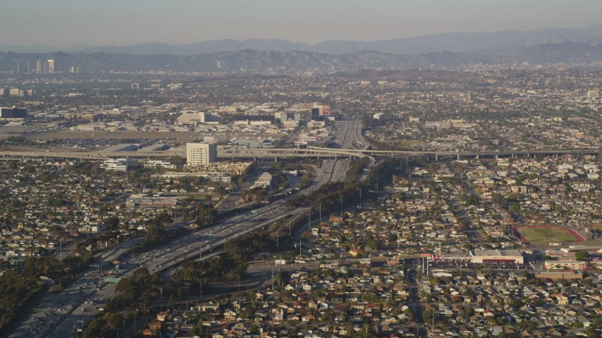 5K stock footage aerial video of heavy traffic on the 405 near the 105 interchange in Hawthorne, California Aerial Stock Footage | DCLA_201