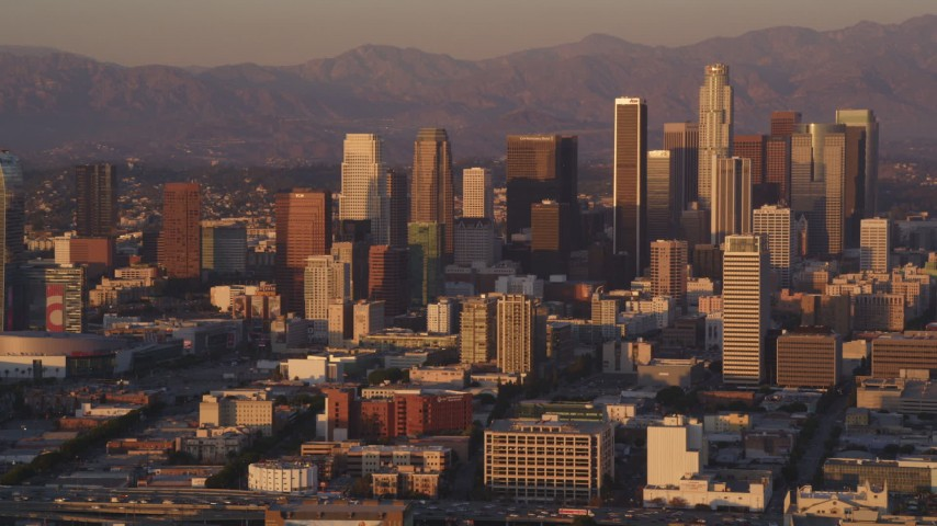 5K stock footage aerial video flyby Downtown Los Angeles skyscrapers at sunset, California Aerial Stock Footage | DCLA_209