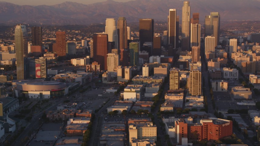 5K stock footage video tilt to reveal and approach Downtown Los Angeles skyscrapers at sunset, California Aerial Stock Footage | DCLA_210