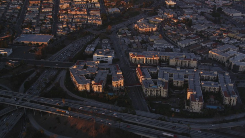 5K stock footage aerial video fly over Downtown Los Angeles concert hall and theater near freeway and apartments at sunset, California Aerial Stock Footage | DCLA_215