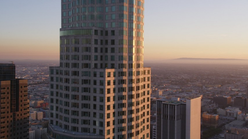 5K stock footage aerial video approach center of US Bank Tower and reveal south side of Downtown Los Angeles at sunset, California Aerial Stock Footage | DCLA_220
