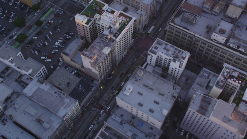 5K stock footage aerial video of bird's eye of city streets and buildings in Downtown Los Angeles at sunset, California Aerial Stock Footage | DCLA_222