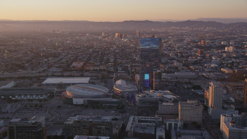 Staples Center and The Ritz-Carlton in Downtown Los Angeles at Sunset Aerial Stock Footage | DCLA_223