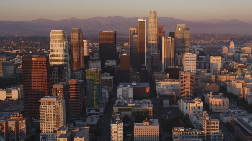 5K stock footage aerial video of Downtown Los Angeles towers at sunset, California Aerial Stock Footage | DCLA_225