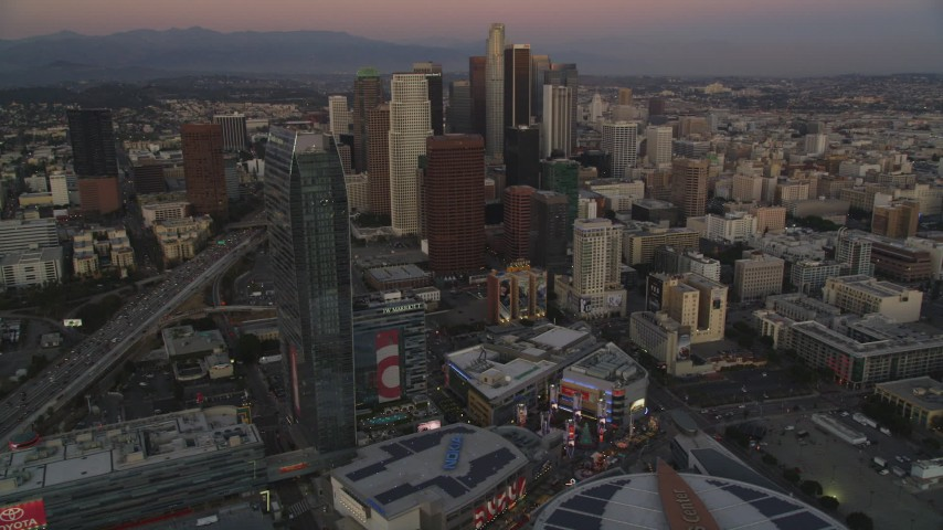 Downtown Los Angeles High-Rises seen from The Ritz-Carlton at twilight Aerial Stock Footage | DCLA_255