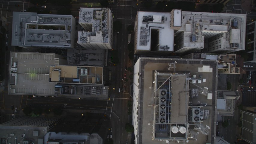 Bird's Eye of Grand Avenue in Downtown Los Angeles at twilight Aerial Stock Footage | DCLA_257