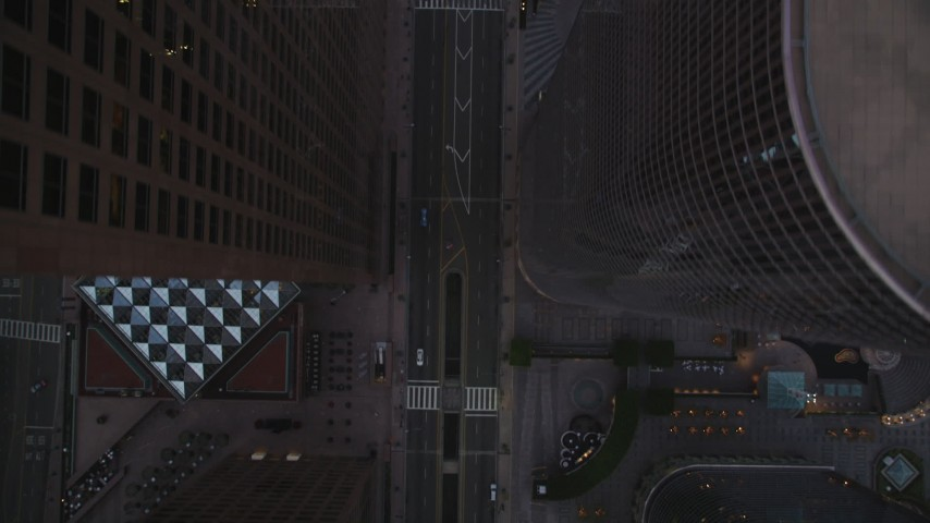5K stock footage aerial video of a bird's eye of Grand Avenue through center of Downtown Los Angeles at twilight, California Aerial Stock Footage | DCLA_258