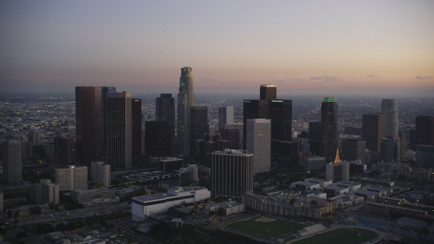 5K stock footage aerial video of Downtown Los Angeles skyline at twilight in winter, California Aerial Stock Footage | DCLA_267