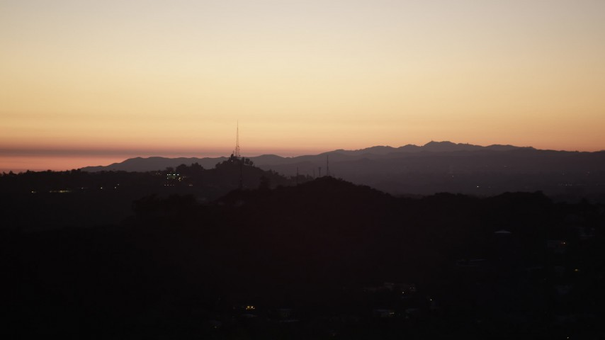 5K stock footage aerial video of radio tower in the Hollywood Hills at twilight, California Aerial Stock Footage | DCLA_285