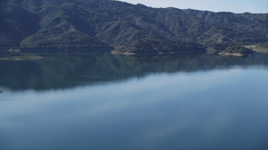 5K stock footage aerial video Flying by the still water of Lake Casitas, Ventura, California Aerial Stock Footage | DCSF01_006