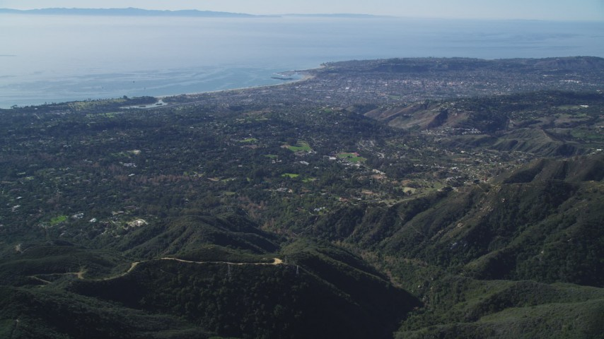 5K stock footage aerial video Santa Barbara seen from Santa Ynez Mountains, California Aerial Stock Footage | DCSF01_008