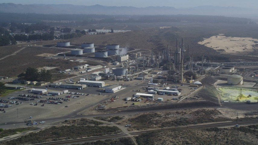5K stock footage aerial video Approach Phillips 66 Company Santa Maria Refinery, Arroyo Grande, California Aerial Stock Footage DCSF02_005