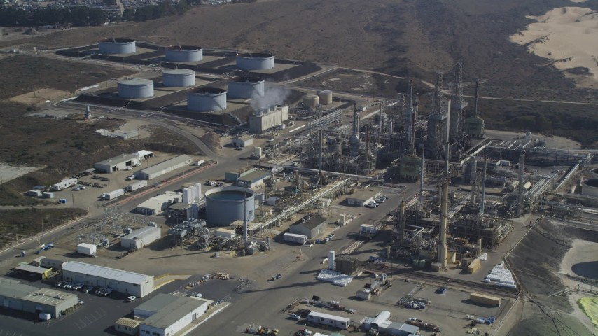 5K stock footage aerial video Approach Phillips 66 Company Santa Maria Refinery, Arroyo Grande, California Aerial Stock Footage | DCSF02_006