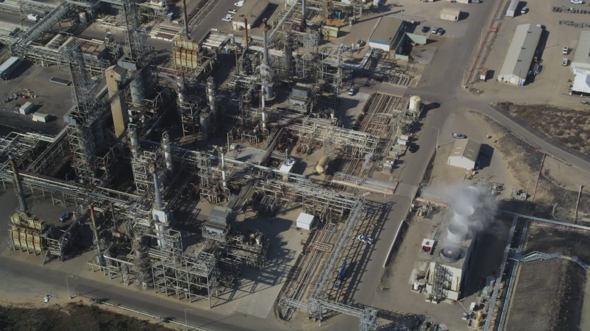 5K stock footage aerial video Fly away from Phillips 66 Company Santa Maria Refinery, Arroyo Grande, California Aerial Stock Footage | DCSF02_008