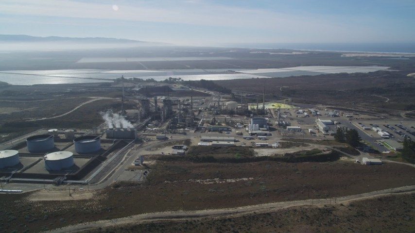 5K stock footage aerial video Orbiting the Phillips 66 Company Santa Maria Refinery, Arroyo Grande, California Aerial Stock Footage | DCSF02_009