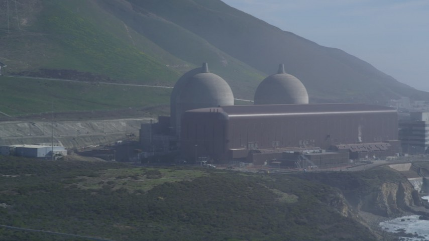 5K stock footage aerial video Flyby the Diablo Canyon Power Plant, Avila Beach, California Aerial Stock Footage | DCSF02_020