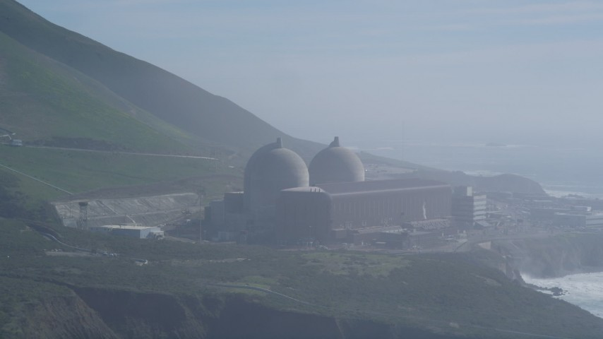 5K stock footage aerial video Diablo Canyon Power Plant overlooking the Pacific Ocean, Avila Beach, California Aerial Stock Footage | DCSF02_021