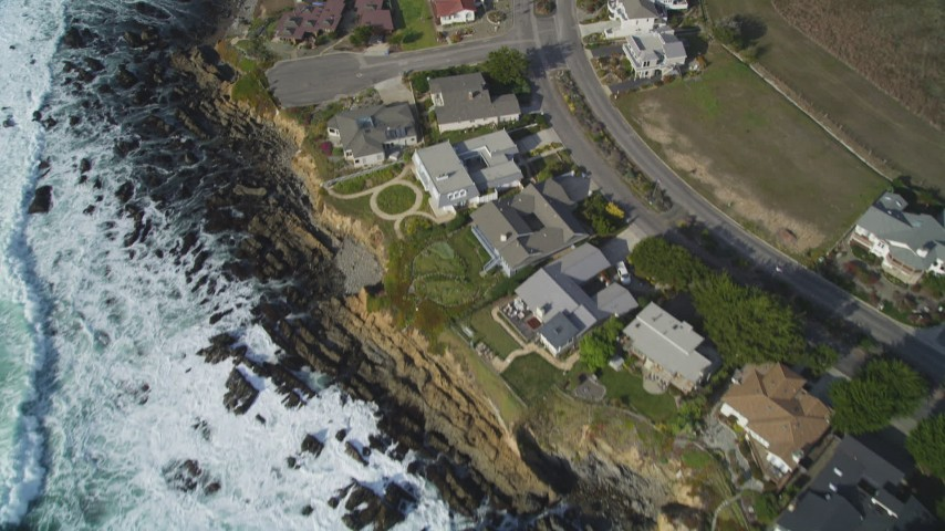5K stock footage aerial video Bird's eye view of oceanfront homes, Cambria, California Aerial Stock Footage | DCSF03_011