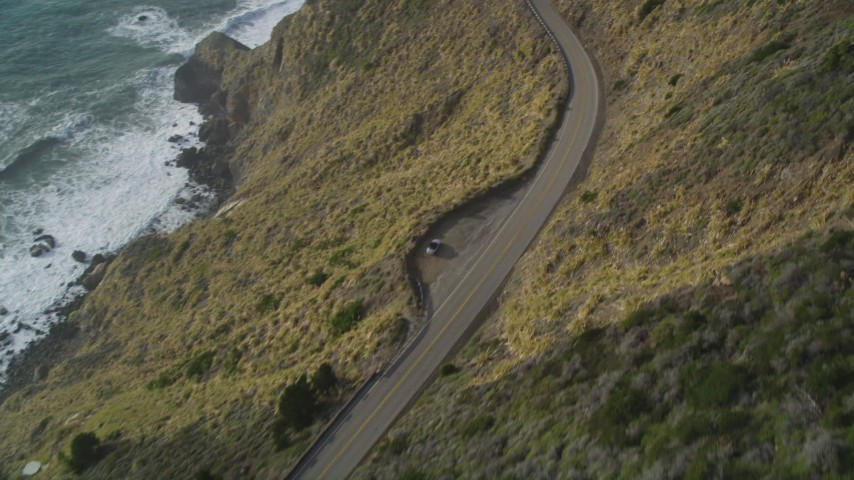 5K stock footage aerial video Bird's eye of Highway 1 on the California coast, Big Sur, California Aerial Stock Footage | DCSF03_034