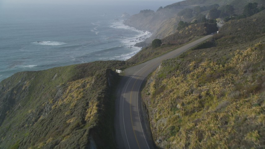 5K aerial video Fly over Highway 1 and the edge of a cliff, Big Sur, California  Aerial Stock Footage | DCSF03_039