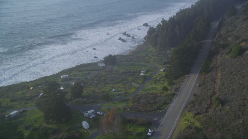 5K aerial video Follow Highway 1 past Kirk Creek Campground, Big Sur, California Aerial Stock Footage | DCSF03_043