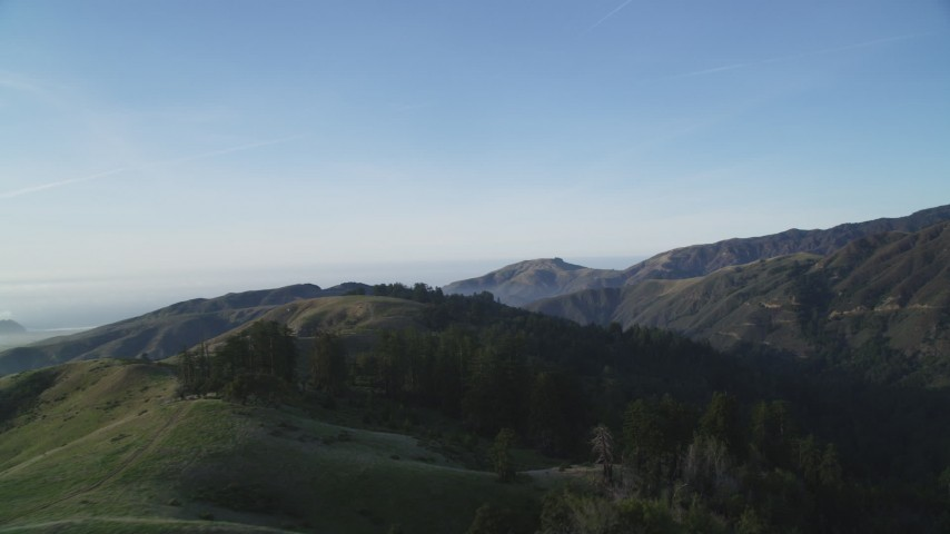 5K stock footage aerial video Flying over and pan across mountain ridges, Los Padres National Forest, California Aerial Stock Footage | DCSF03_054