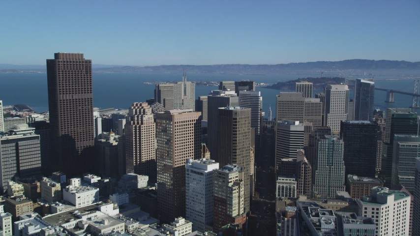 5K aerial video Follow Market Street toward the Ferry Building, Downtown San Francisco, California Aerial Stock Footage DCSF05_017
