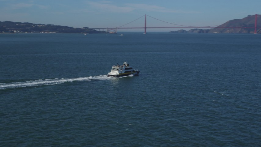 5K stock footage aerial video Track a ferry cruising San Francisco Bay, California Aerial Stock Footage | DCSF05_022
