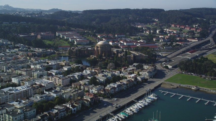 5K stock footage aerial video Approach Palace of Fine Arts from Yacht Harbor, San Francisco, California Aerial Stock Footage | DCSF05_031