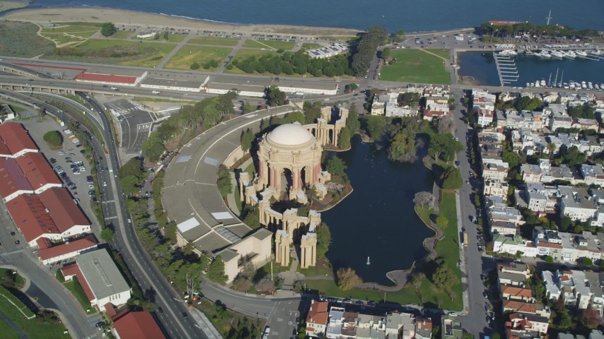 5K stock footage aerial video orbit of the Palace of Fine Arts in San Francisco, California  Aerial Stock Footage | DCSF05_035