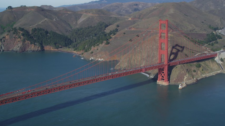 5K stock footage aerial video Flying by the Marin side of the Golden Gate Bridge, San Francisco, California Aerial Stock Footage | DCSF05_039