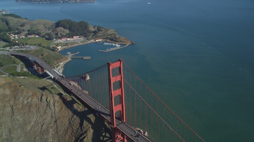 5K stock footage aerial video Bird's eye view of the north end of the Golden Gate Bridge, San Francisco, California Aerial Stock Footage | DCSF05_045