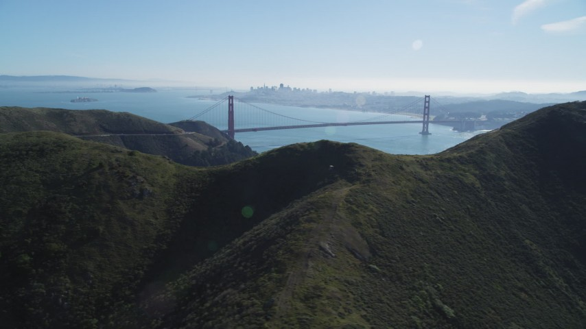 5K stock footage aerial video View of Golden Gate Bridge, San Francisco Bay, and downtown skyline, Marin Headlands, California Aerial Stock Footage | DCSF05_048