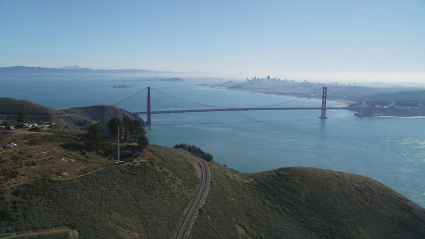 5K stock footage aerial video The Golden Gate Bridge, San Francisco Bay, and San Francisco skyline, seen from Marin Headlands, California Aerial Stock Footage | DCSF05_049