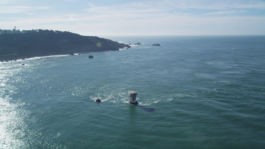 5K stock footage aerial video Flying over Miles Rock Light, approaching end of Seacliff, San Francisco, California Aerial Stock Footage | DCSF05_050