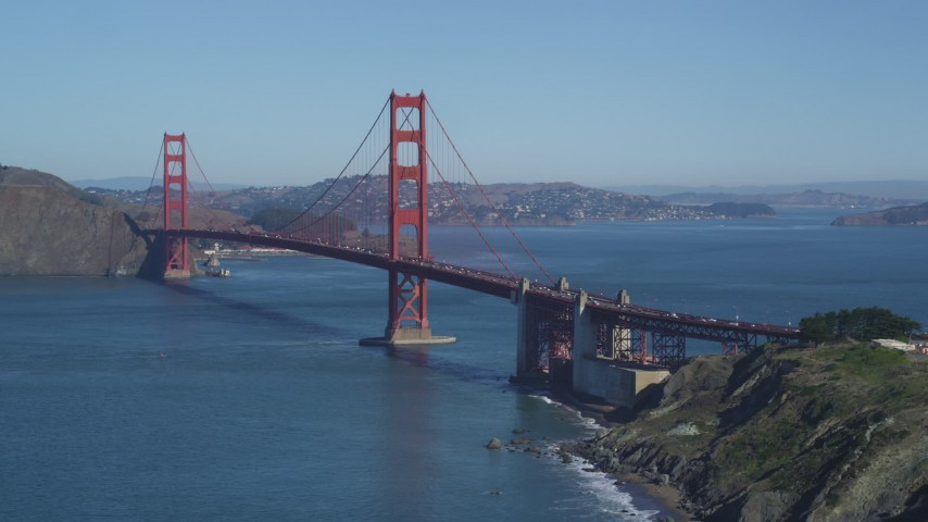 5K stock footage aerial video Approach south side of the Golden Gate Bridge, San Francisco, California Aerial Stock Footage | DCSF05_062