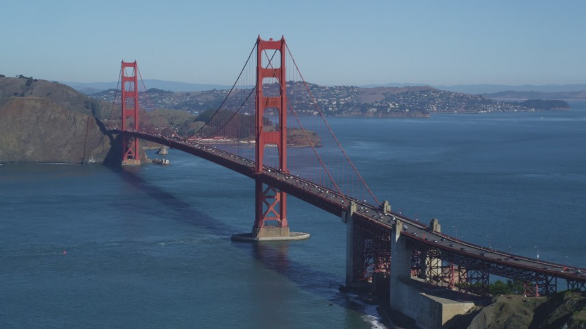 5K stock footage aerial video Approaching the Golden Gate Bridge with light traffic, San Francisco Bay, San Francisco, California Aerial Stock Footage | DCSF05_063