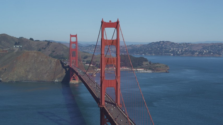 5K stock footage aerial video Flying by one of the towers of the Golden Gate Bridge, San Francisco, California Aerial Stock Footage | DCSF05_064
