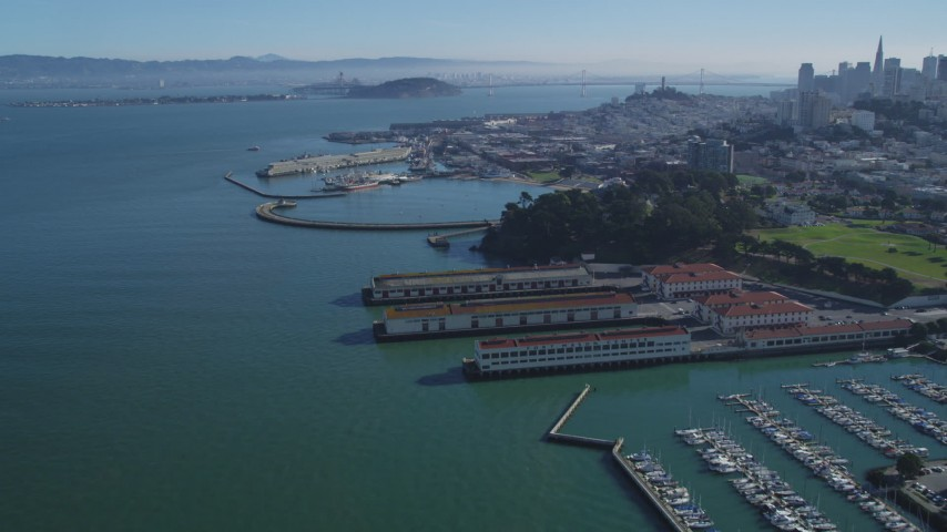 5K stock footage aerial video Yacht Harbor, Marina Green, Fort Mason in Marina District, San Francisco, California Aerial Stock Footage | DCSF05_066